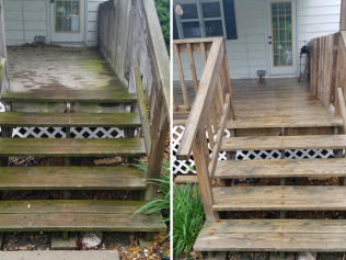 results of soft washing on a deck, sedalia mo