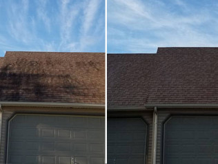 roof cleaning soft wash before and after, sedalia mo